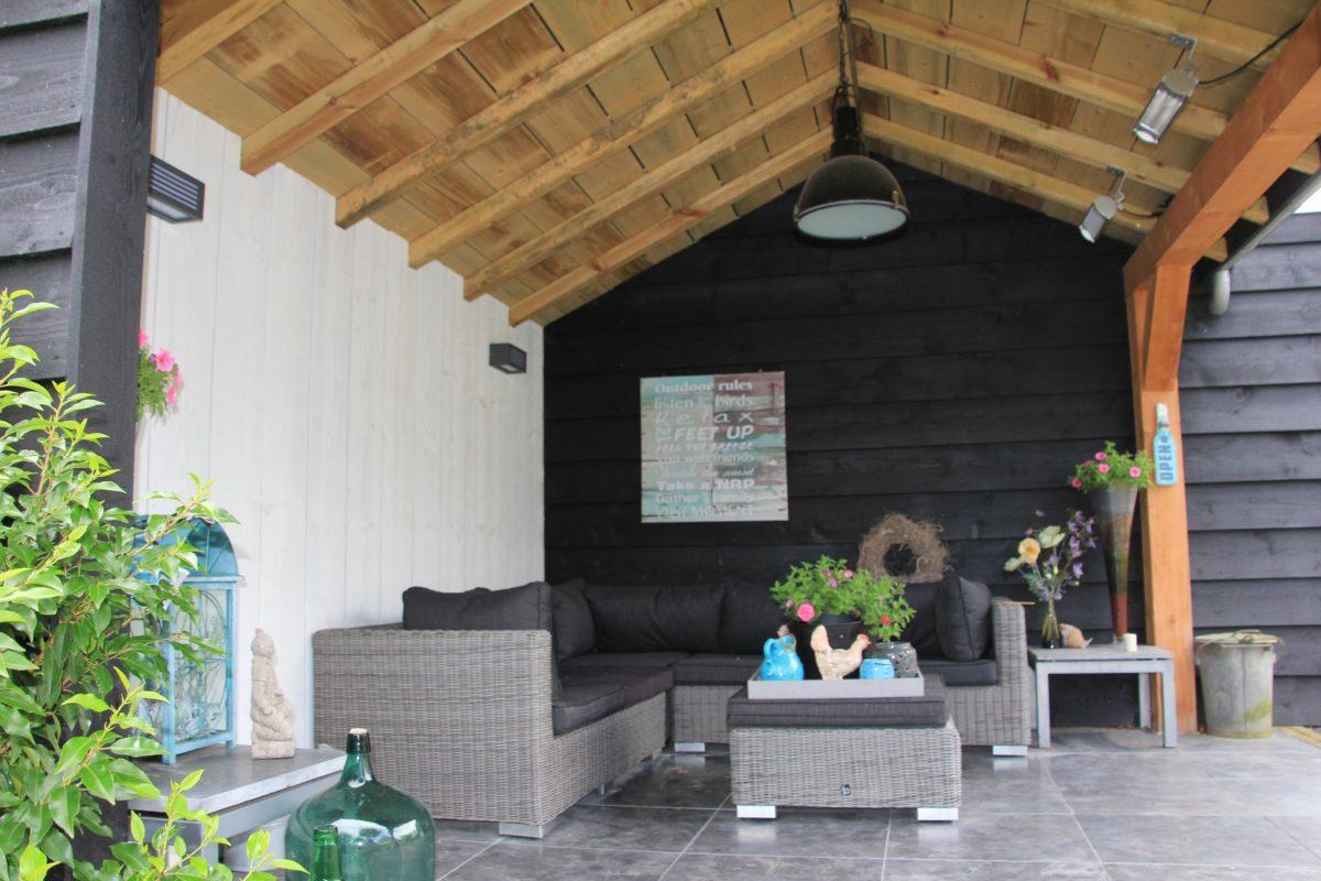 Tuinhuis L-vorm & lichtkoepel